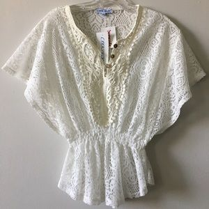Cool Wear Crocheted lace caftan Top Size S NWT